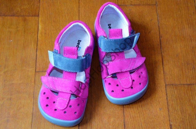 Beda barefoot BF 0001/SD/W REBECCA, sandálky, kožené, dívčí, suchý zip, růžová/šedá
