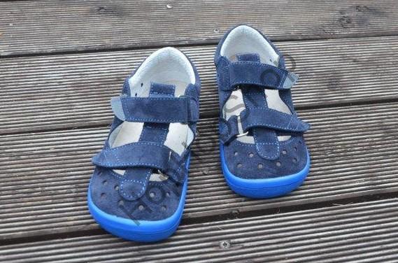 Beda barefoot BF 0001/SD/W DANIEL, sandálky, kožené, chlapecké, suchý zip, modrá