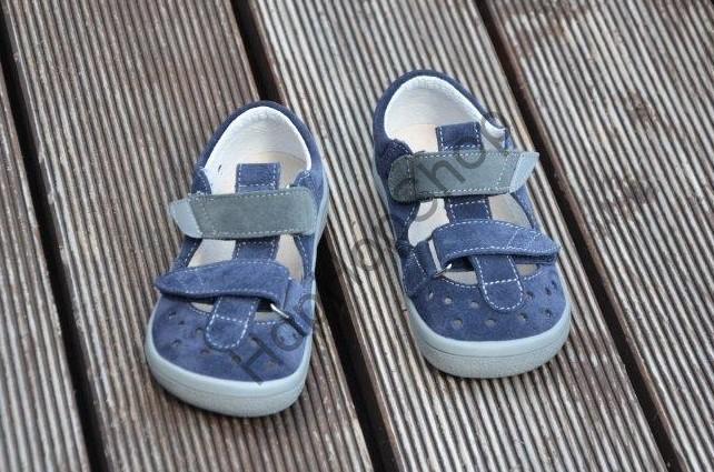 Beda barefoot BF 0001/SD/W LUCAS, sandálky, kožené, chlapecké, suchý zip, modrá/šedá